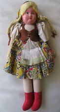 "Antique Textile Original Dress Paper Mache German Swiss Cloth Body Doll 11"""