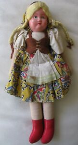 "Antique Textile Original Dress Paper Mache Polish Swiss Cloth Body Doll 11"""