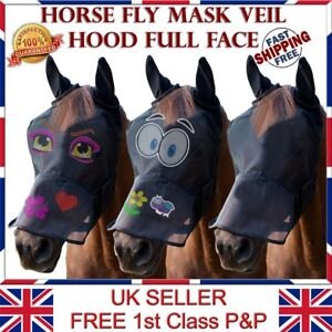 LTG Horse Cob Pony Fly Mask Net Veil Hood Full Face Cartoon Ears Nose Protection