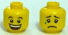 LEGO - Minifig, Head Huge Grin, Eyebrows / Sad with Tear, Concave Eyebrows