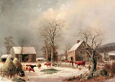 Farmyard in Winter George Henry Durrie Bauernhof Winter Kühe Enten B A3 02014