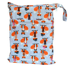 Fox Wet Dry Bag Baby Cloth Diaper Nappy Bag Reusable With Two Zippered Pockets