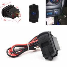Car Marine Boat Dual Usb Blue Led Voltmeter Socket Power Supply Charger Port 12V
