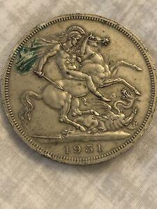 1951 George VI Five Shillings Coin Fair Condition.