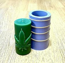 Silicone Pillar candle Mold Marijuanna Leaf Homemade plaster resin
