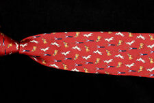 Mens BROOKS BROTHERS Tie, Circus Horses Ringmaster on Crimson Red Silk Twill