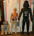 """Vintage Star Wars Lot 12"""" Kenner Figures Luke Skywalker Darth Vader & R2D2 Bank"""