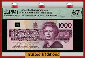TT PK BC-61b 1988 CANADA BANK $1000 QUEEN ELIZABETH II PMG 67 PPQ TIED AS BEST!