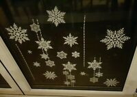 Snowy Glitter Window Stickers Christmas Snow Flake Home Decoration Snowflakes