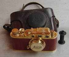 Leica II D Olympia 1936 copy gold-wood in leather case (FED Zorki copy)