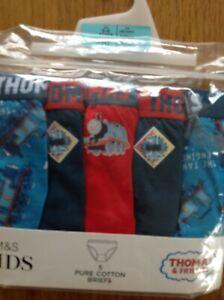 BRIEFS AGE 5-6 YRS  M&S THOMAS & FRIENDS 5 PAIR PURE COTTON BLUE MIX BRAND NEW
