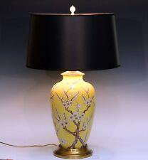 Large Old Antique Japanese Porcelain Famille Jaune Prunus Blossom Vase Lamp