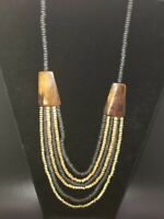 Gorgeous Vintage Black Gold Wood Bead Multi Strand Necklace