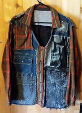 Ooak Football Sports Skeleton Grunge Distressed Patchwork Cargo Jacket Mens Sz L