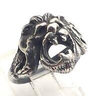 Vintage Lion Gargoyle Design Band Sterling Silver 925 Ring 8g Sz7 A2832