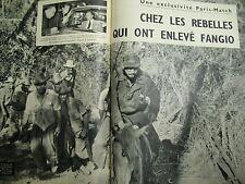 PARIS MATCH N° 0465 CUBA CASTRO ENLEVEMENT DE FANGIO 1958 SUEDE MARGARETHA