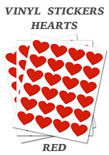1000 Red  Heart Shape - Self Adhesive Waterproof Vinyl Labels  size 25mm