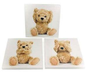 Children's Set of 3 Teddy Bear Canvas Pictures Baby Kids Nursery Room Wall Art