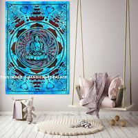 Indian Lord Buddha Turquoise Tapestry Wall Hanging Hippy Home Decor Cotton Throw