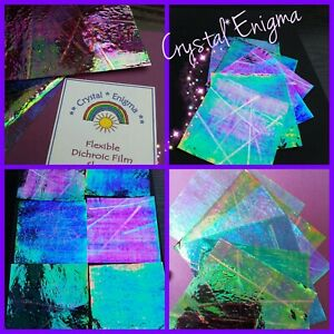 COLOURFUL FLEXIBLE DICHROIC FILM SHEETS FIMO & RESIN CRAFTS ART CARD MAKING ETC