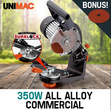 Commercial 350W Chainsaw Sharpener Alloy Chain Saw Bench 2 x Grinding Wheels