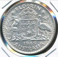 Australia, 1945(m) Florin, 2/-, George VI (Silver) - Extra Fine