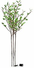 """WHOLESALE 6PC LOT OF GREEN LEAF TWIG ARTIFICIAL PLANT 96 LIGHTS H39"""" 3 STEMs"""