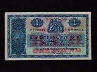 Scotland:P-157b,1 Pound,1942 * The British Linen Bank * VF *