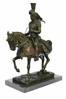 "Medieval Knight on Horseback Bronze Sculpture 13"" x 10"""