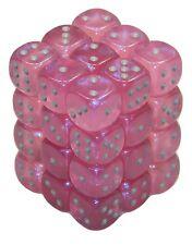 New Chessex 36 Piece 12mm 6 Sided Dice Set Pink Borealis CHX27804