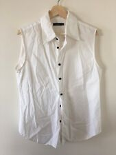 BASSIKE White Cotton Sleeveless Shirt with Contrast Black Buttons Size M