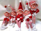 5 KNEE HUGGER ELF ORNAMENTS SET LOT PLASTIC FACE RED WHITE STRIPE CHECK