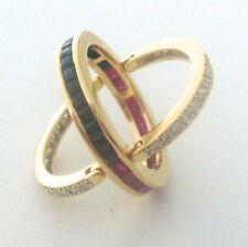 $8,000 Ruby Sapphires Diamonds 18k Yellow Gold Day & Night Flip Ring