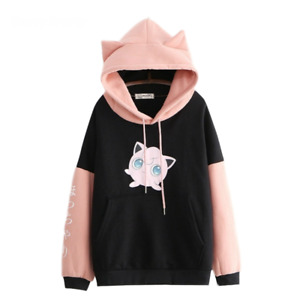 Kawaii Women's Kpop Style Hoodie Fleece sweater With Ears Harajuku Jpop