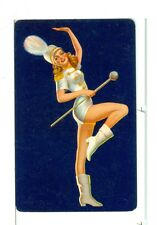 """Single Playing Card Pin Up """"Majorette"""" Navy Bkgd"""