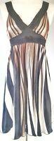 Vila Women's Dress Cream Black Brown Size Medium Striped A-Line Party VGC