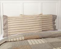 SAWYER MILL CHARCOAL Pillow Case Set Striped Farmhouse Country Creme/Grey 21x30