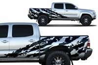 Custom Vinyl Decal SHRED Wrap for 4D Short Bed Toyota Tacoma 05-15 Matte Black