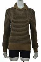 Club Monaco Womens Sweater Size XS Brown Navy Striped Crew Neck Long Sleeve Wool