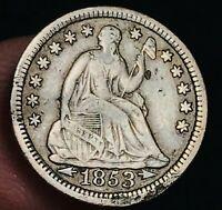 1853 Seated Liberty Half Dime 5C Arrows High Grade Detail US Silver Coin CC3915