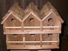 Wood 6 Room Deluxe  Bird House (Cedar) cedar shake roof FREE SHIPPING HANDMADE