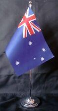 "AUSTRALIA DELUXE SATIN TABLE FLAG 9""X6"" CHROME POLE & BASE Stands 15"" AUSTRALIAN"