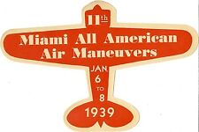 "VINTAGE ORIGINAL 1939 ""MIAMI ALL AMERICAN AIR MANEUVERS"" AIRSHOW RACES DECAL FL"