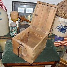 Rare Antique 1880's Triple Latch Trade Goods Carrier Crate Tongue & Groove Box
