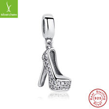 Authentic 925 Sterling Silver Sparkling High Shoe Pave CZ Dangle Charm Fit Women