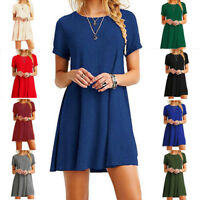 Women's Blouse Short Sleeve  Casual Solid Color Tunic Top Shirt Dress Plus Size