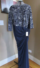 NWT Tadashi Shoji Navy Ivory Leaf Lace Embroidered Gown Dress SIZE 20Q
