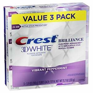 Crest 3D White Brilliance Toothpaste Vibrant Peppermint 3.9 Oz Pack of 3