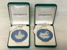 Lot 2 Wedgwood Blue Jasper Christmas Annual 1996 1997 Ornaments Candle Reindeer