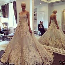 Vintage Ivory Wedding Dresses Elegant Lace Long Bridal Ball Gowns Custom Made+++